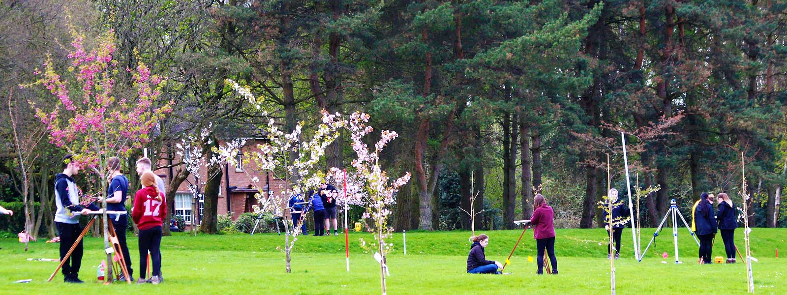 Students using arboretum for geography practical