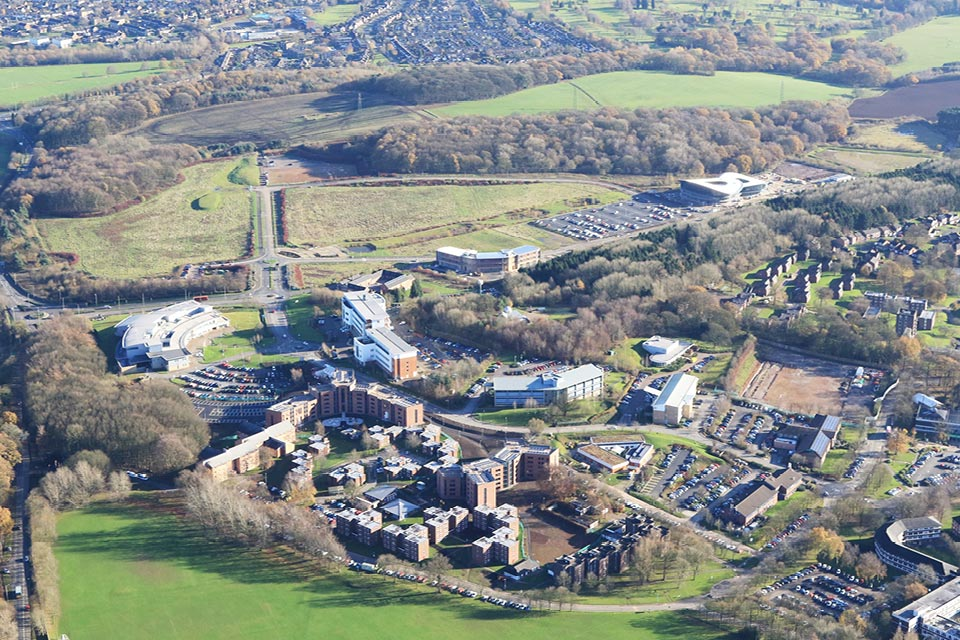Aerial photo of Keele University Science and Innovation Park buildings