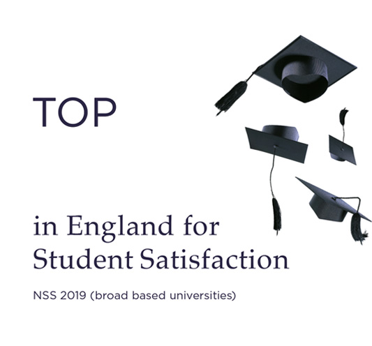 Top 3 in England for Student Satisfaction - NSS 2019 (broad based universities