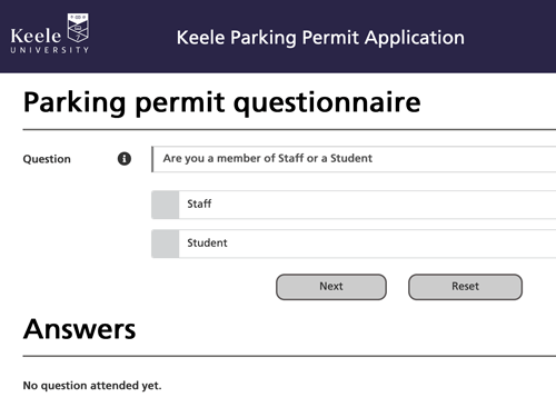 New application screen - parking