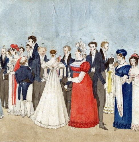 Extracts from the Panorama at Almack's, watercolour by Charlotte Augusta Sneyd, 1819-1820, measuring 25cm x 228cm [Sneyd Papers]