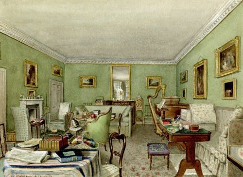 The drawing room at Cheverells, Hertfordshire, c.1840, watercolour by Charlotte Augusta Sneyd [SW 3]