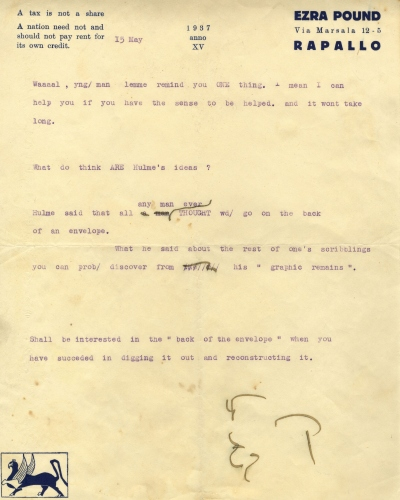 Ezra Pound to Michael Roberts, 15 May 1937 [HUL 37]