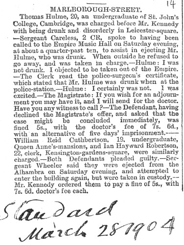 Report from the London Standard 28th March 1904 [HULF 2a]