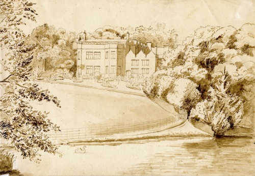 Drawing c1828 showing the south-east front of Keele Hall before extensive re-landscaping.