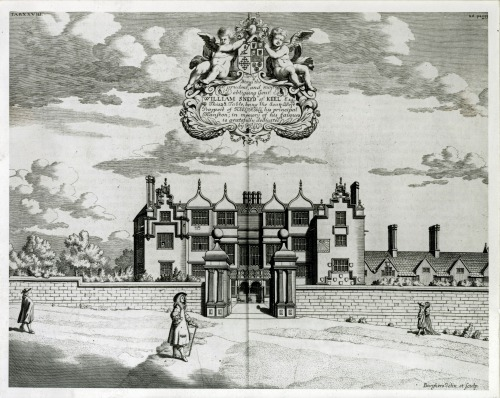 Depiction of Keele hall from the 1686 engraving by Michael Burghers, published in Robert Plot's The natural history of Staffordshire (Oxford, 1686).