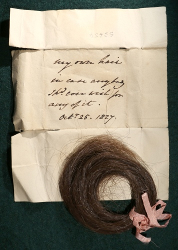 Lock of hair and wrapper, with note, Charlotte Augusta Sneyd, 25 October 1827 [S3654]