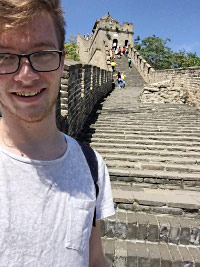 Connor Spicer in China after studying Chinese at Keele University