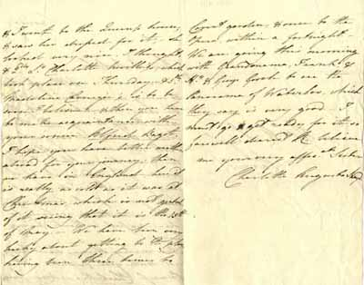 Letter From Charlotte Augusta Sneyd to brother Ralph Sneyd, 13 May 1816 