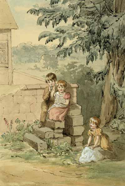 Watercolour of the Children from Keele village by Charlotte Augusta Sneyd, n.d. 