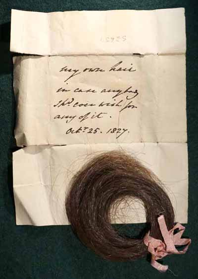 Lock of hair and wrapper, with note, Charlotte Augusta Sneyd, 
