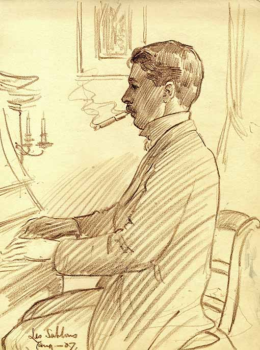 Bennett charcoal drawing by Frederick Marriott, 1907 [AB/M1]