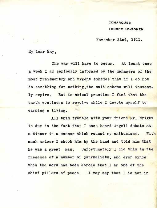 Letter from Arnold Bennett to May Marsden about Norman Angell and writing for free