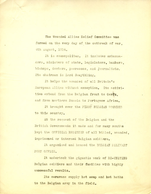 The first page of a draft of a pamphlet by Bennett about the Wounded Allies Relief Committee