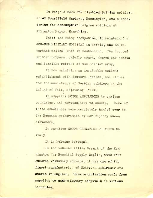 The second page of a draft of a pamphlet by Arnold Bennett about the Wounded Allies Relief Committee