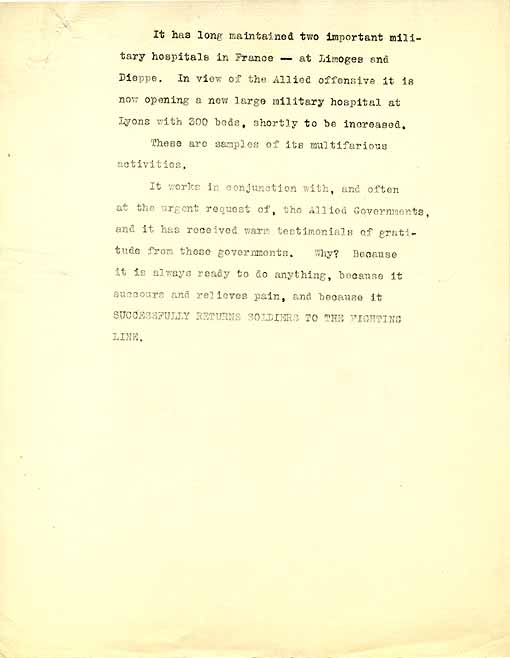 The third page of a draft of a pamphlet by Arnold Bennett about the Wounded Allies Relief Committee
