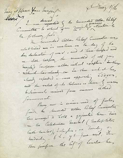 A draft of a letter from Arnold Bennett to King George V about the Wounded Allies Relief Committee