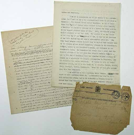 Material relating to a speech written by Arnold Bennett for Doris Keene at a benefit concert for the Wounded Allies Relief Committee