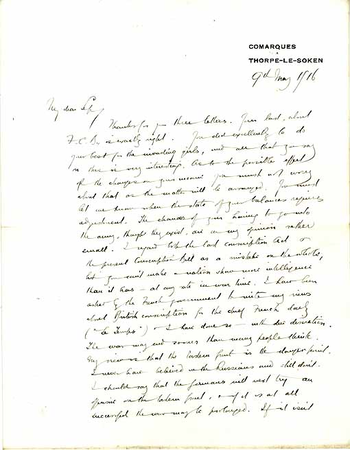 The first page of a letter from Arnold Bennett to Septimus Bennett about the threat of German invasion and his role in the Local Emergency Committee