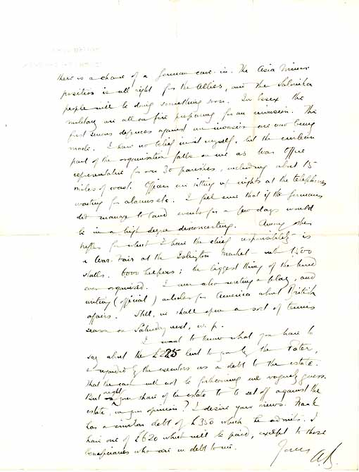 The second page of a letter from Arnold Bennett to Septimus Bennett about the threat of German invasion and his role in the Local Emergency Committee