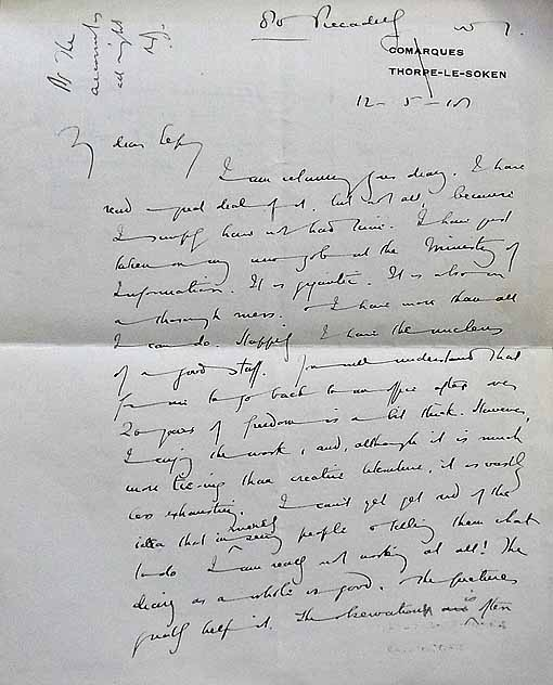 A letter written by Arnold Bennett to his brother Septimus about starting work at the Ministry of Information