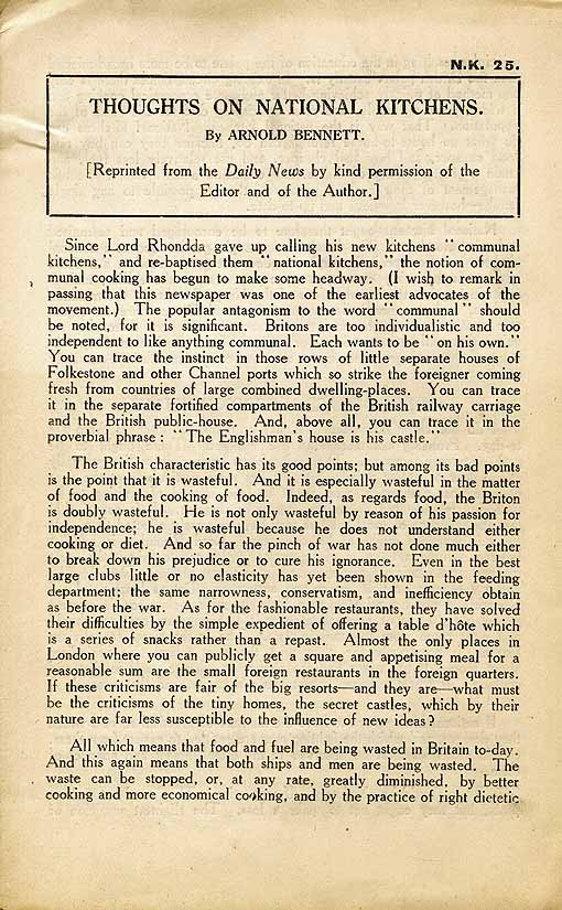 A pamphlet written by Arnold Bennett about National Kitchens in the First World War