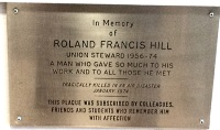 Roland Hill Memorial Plaque