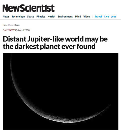 Astro headlines pitch black planet