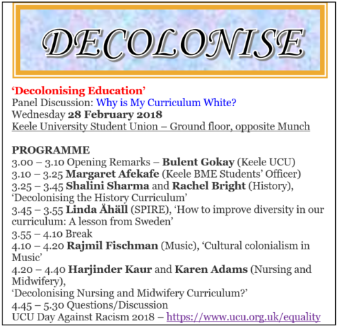 Decolonise Education First Meeting Febraruy 2018 Agenda image