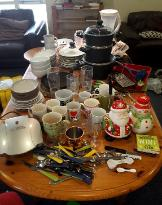 Keele Green Move Out 2017. Items donated at Barnes Social Space Donation Drop-in Session including homeware and kitchen items.