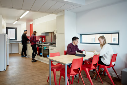 Barnes Hall accommodation - kitchen and social area