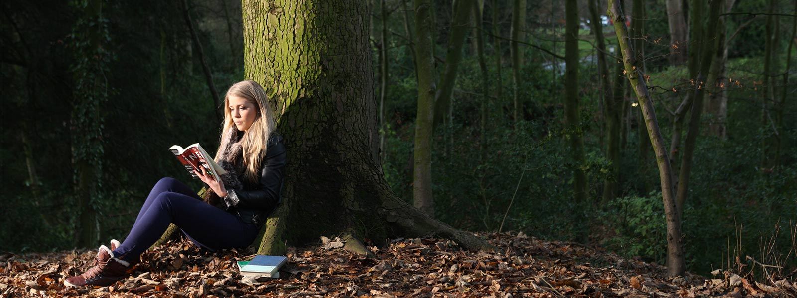 A female undergraduate student sits reading at the base of a tree.