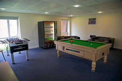 The Barnes building social space, with pool table